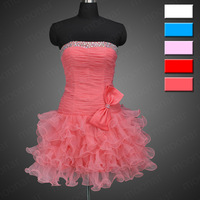 5 Colors! Short Shinning Mini Sweetheart Strapless Backless Custom-made Prom Gown Ball Cocktail Party Lace Dress YNLF082