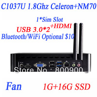mini pc windows 8 or 7 with USB 3.0 HDMI SIM slot Intel C1037U dualcore 1.8GHz HD Graphics 1G RAM 16G SSD full alluminum chassis