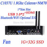 mini pc 12v low power with USB 3.0 HDMI SIM slot Intel C1037U dualcore 1.8GHz HD Graphics 1G RAM 32G SSD full alluminum chassis