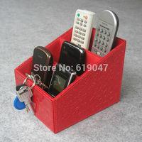 Kingfom 3 slot leather desk remote controller storage box display presentation box Crocodile pattern sundries box red A217