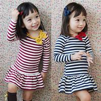 Clothing female child 2013 autumn long-sleeve dress girl princess dress 2 - 8 q  qz1301