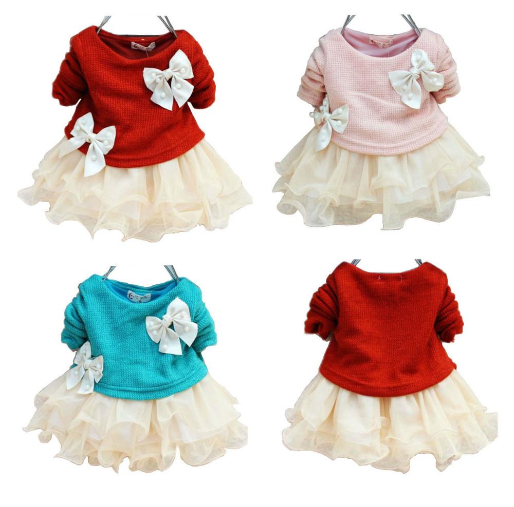 New arrival fashion long sleeve knitted pearls bows newborn baby girl princess chiffon tutu dresses red blue pink 1pcs Retail(China (Mainland))