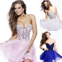 Shinning Bead Sequin Ball Prom Gown Mini Short Homecoming Cocktail Party Lace Dress YNLF100
