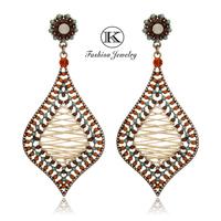 New 2014 Fashion Vintage Girl Jewelry Big Earring Women Handmade Alloy Hollow Tassel Crystal  Drop Earrings