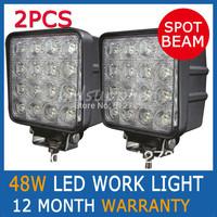 Pair 48W FLOOD BEAM LED WORK OFFROADS LAMP LIGHT TRUCK BOAT 12V 24V 4WD 4x4 Driving Lights Spotlights tractor off road