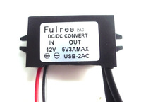 50pcs/lot waterproof DC to DC Converter step down 8-22V 12V to 5V ,Dual Female USB port Buck module