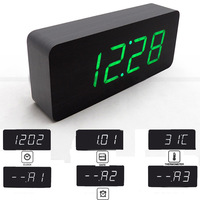 2014 New Design Wooden clocks LED clcok  Digital clocks sounds control Alarm Clocks , Big Numbers table clocks