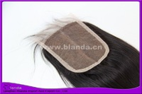 "Natural straight natural color #1b middle part Peruvian hair top closure 3.5x4"" free shipping"