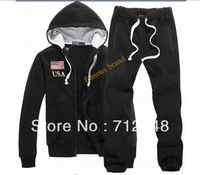 New Men's POLO cotton hooded cardigan sweater suit leisure suit American flag hoodies + pants Size S-XXL Free shipping