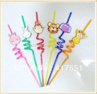 (10 pcs/lot),holiday event & party supplies/birthday party  2014 fun drinking straws,cartoon Creative juice straws free shipping