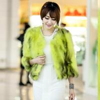 free shipping Wholesale & retail  2013 women's fur slim short design raccoon fur three quarter sleeve fur coat