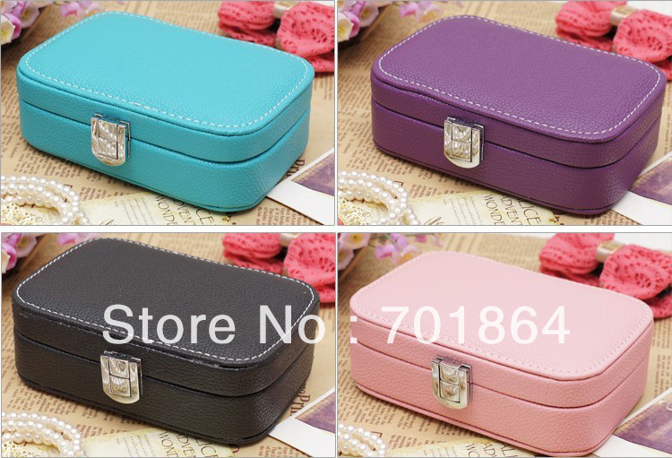 Free Shipping - High Quality Fashion Jewelry Case PU Leather Cosmetic Box Jewelry Accessory Storage Packaging(China (Mainland))