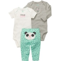 Original Carters Baby Girls Set, Panda  Model Long&Short Sleeve Bodysuit +Pants 3pcs Set , Freeshipping