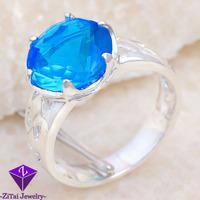 SR0011 2pcs 19CT shiny ROSE cut prom queen wedding blue Sapphire ring sz.7 8 9 Xmas gift FREE SHIPPING 925 silver women jewerly
