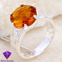 SR0010 2pcs 19CT shiny ROSE cut prom queen wedding yellow citrine ring sz.7 8 9 Xmas gift FREE SHIPPING 925 silver women jewerly