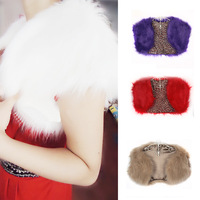 Women Faux Fur Cape Wedding Bridal Wrap Jacket Shawls Stole Bolero Shrug Coats Free shipping & Drop shipping HQ0003