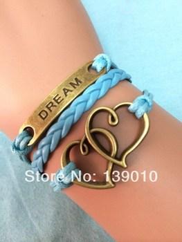 Free Shipping!6PCS/LOT!Wholesale Retro Alloy Letter DREAM Heart Charm Bracelet Unique Men Custom Wristband Hand Jewelry S-071