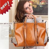 Vintage fashion genuine cowhide leather handbag messenger bag motorcycle bag women's handbag totes 2013 hot sale free ship