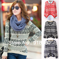 New winter Knitting Sweater Women's pullovers/Ladies's striped printed sweater/warm preppy chic autumn Outerwear Blouse/WOJ