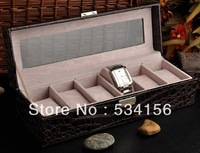 Free shipping brown Glass  surface Professional  luxury leather watch boxes, can fit into a 6 watches, watch box 8.5*31*10cm
