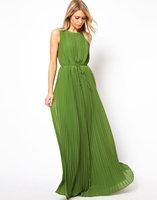Sexy Sleeveless Long Pleated Maxi Dress LC6183 Dark Green Floor-length Hot Summer Elegant Women Dresses Vestidos de festa longo