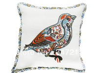 "18""x18""embroidery bird cushion cover decorative throw pillow cover"