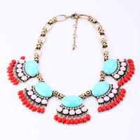 Fashion fashion accessories short design fan-shaped women's flower vintage necklace