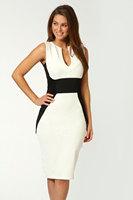 White Contrast Panel Midi Bodycon Dress LC6165      knee-length dress     women dress