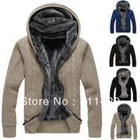 New Autumn Winter Men's Knit Outwear Fleece Inside Men Cardigan Jackets Thick Sweaters