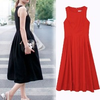 Europe and the United States's Retro temperament dress skirt, black evening dress noble red