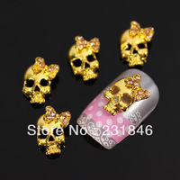 30 pcs Bow Tie Golden Skull 3D Alloy Pink Crystal Rhinestone Nail Art Tip Skeleton DIY Decoration Phone DIY UV Gel Decal 13X9mm