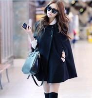 Fashion elegant women's winter cloak batwing sleeve loose plus size woolen outerwear black woolen overcoat