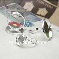 Free Shipping - 20 pcs Silver Finger Ring Base for 12mm / 14mm / 20mm Round Cabochon,Ring Base Accessories,Handmade Findings