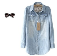 Colored Pearl Clasp Long -sleeved Blouse Washed Denim T-Shirt For Women