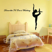 [B.Z.D] Free Shipping Large Dancer Girl Vinyl Wall Stickers Murals Removable Decals-Dance Like No One is Watch 150x100cm