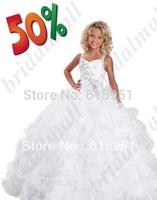 2015 New White Little Girls Pageant Dresses Long Beaded Ruffles flower girl dresses Ball Gowns Floor Length JY2242