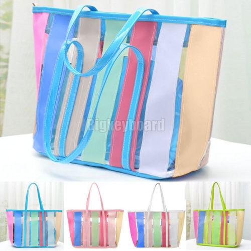 High Quality Fashion New Women Rainbow Color Stripe Jelly Transparent Tote Handbag Shoulder Bag 4 Color (bx62)(China (Mainland))