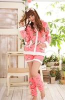 nightgown Sweet young girl long-sleeve zipper thickening sleepwear coral fleece lounge set Pajama Sets