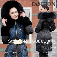 Free shipping 2013 new women's winter large fur collar ultra long design thickening luxury goose clothes belt lacing patchwork