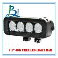 7.8inch 40w cree 4x4 led light bar for car jeep atv utv utv