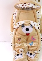 2013 new winter two tiger leopard leotard cartoon dog thick warm clothes Footies to climb romper children out clothes