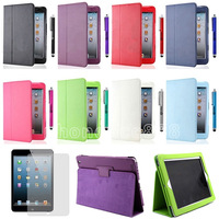 100pcs/Lot DHL free For Apple iPad Mini Magnetic Smart PU Leather Folio Flip Stand Case Cover Sleep/Wake+Stylus+Screen Protector