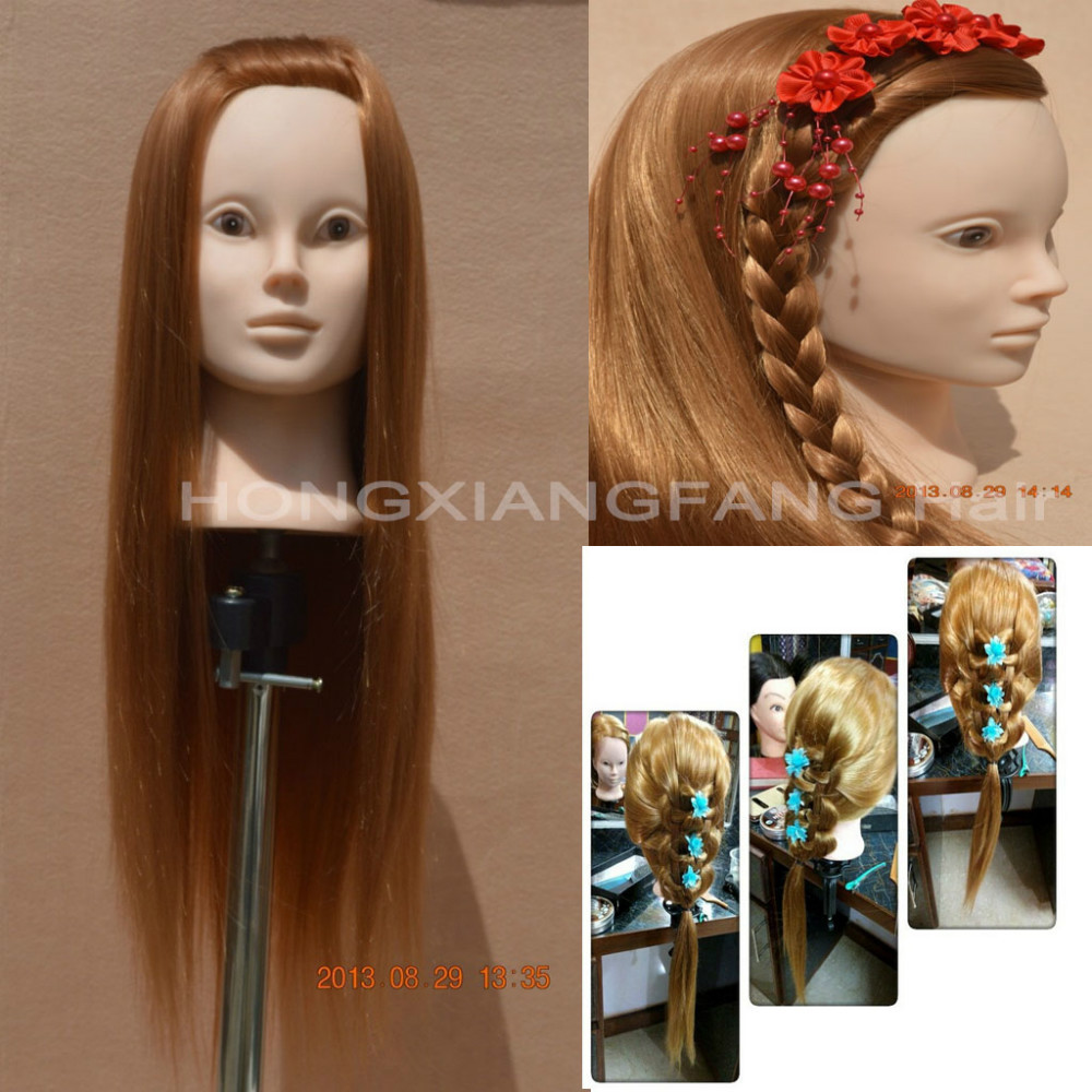 Free Shipping Mannequin Maniqui 100% High Temperature Hair Fiber Training Female Mannequin Head With Hair(China (Mainland))