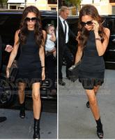 Summer  Women's New arrival Fashion Victoria Slim Design Pressure Pleated Short little Black Dress