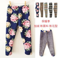 2013 3-6 years children winter all-match girls clothing plus velvet thickening thermal legging Fleece trousers warm pants