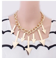 Wholesale 12pcs/Lot Arrow Inflated Gold Necklace Women Metal Casual Pendant Necklace With Chunky Chain Z-A6012A