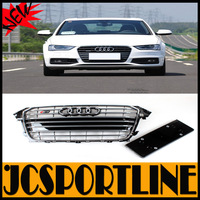 For AUDI A4 2013 UP changed to S4 ABS Front grill,Auto Car Mesh Grille GRILL GREY COLR (fits for Audi A4 S4 2013UP)