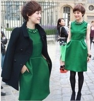free shipping 2013 dress winter autum spring inner dress lady fashion dress wool dress green star style