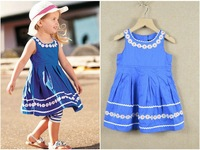 100% cotton baby girl dress 2013 summer girls dress The sun lace water wave edge children dress 2-7 years kids wear