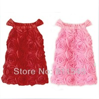 Retail Hot Pink Rosette Birthday Dress for Baby Girl Wedding Party Princess Kids Clothes Summer Children Clothing Bebe Outerwear
